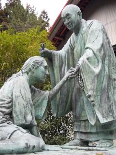 衛門三郎と空海の像(杖杉庵)