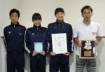 左から選手の大畑さん、石田さん、小林さん、コーチの田代さん