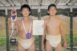 落合君(左)と相撲仲間の梅澤君