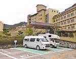 湯元榊原舘敷地内にオープンした、県内初の「RVパーク」