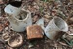 土中に埋められていた骨壺