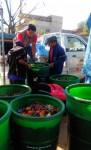 パンパグランデ市での事業で行われている、生ごみの回収の様子 回収された生ごみは堆肥化される