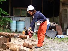 チェーンソーで木を切る体験をする学生