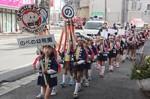 火の用心を呼びかけながらパレードする「のべの幼年消防隊」