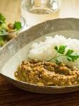 「イノシシ肉と大豆のキーマカレー」の盛付例