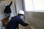 園舎の壁を塗るリペイント匠の社員たち