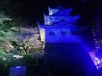 ライトイットアップブルーみえで、青く照らされた津城跡の櫓